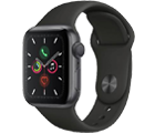 Apple Watch Series 5 GPS 44mm Space Grey Aluminium Case with Black Sport Band Free with mobile phones